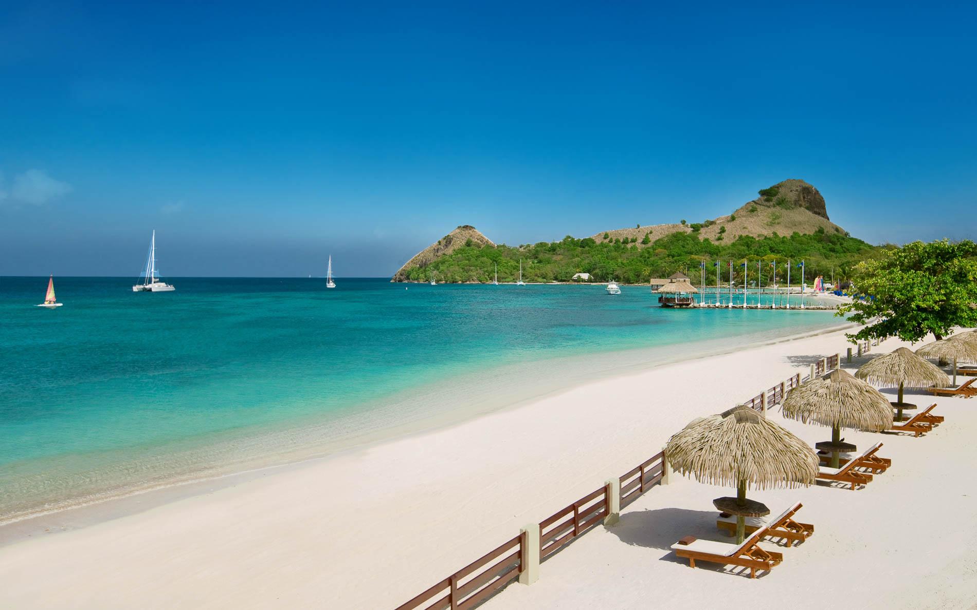 La spiaggia del Sandals Grande St. Lucian